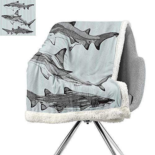 Tail Black Shark - Animal Decor Berber Fleece Blanket,Sealife Big Fierce Dangerous Fish Shark Jaws Tails Sketchy Artistic Image,Turquoise Black,Print Summer Quilt Comforter W59xL31.5 Inch