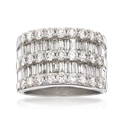 Round Diamond Baguette Brilliant Band (Ross-Simons 3.45 ct. t.w. Diamond Wide Band Ring in 14kt White Gold)