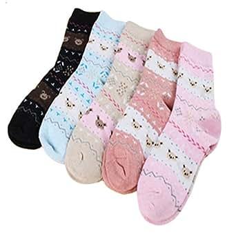 Set of 5 Pairs Women Autumn/Winter Thicken Warm Cute Cotton Socks Bear