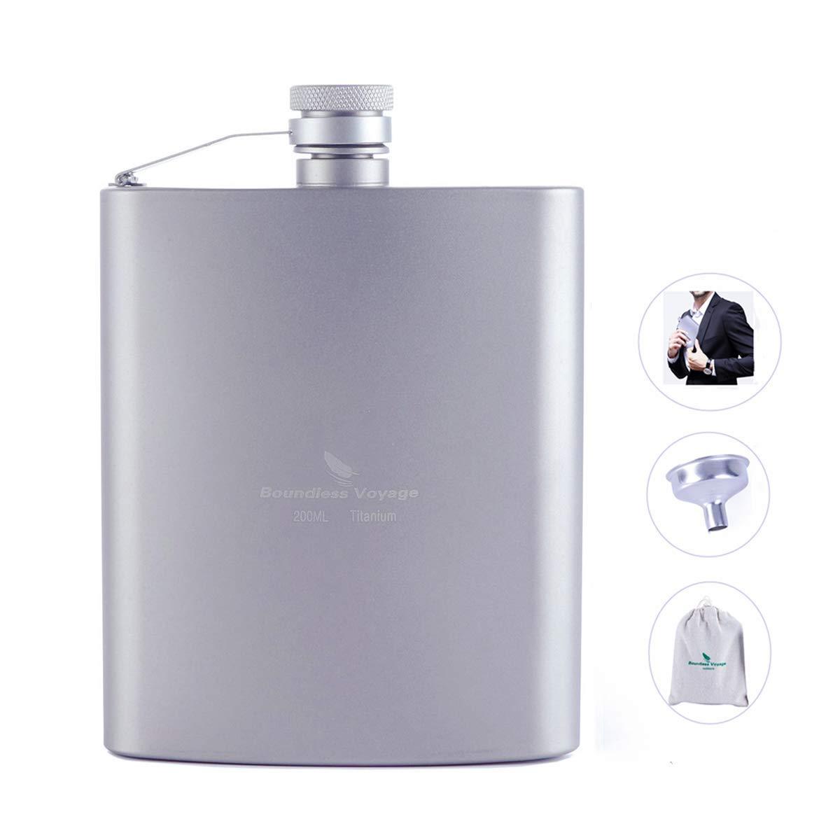 Plata ZYVoyage Petaca de titanio Mini Pocket Petaca con 7oz Capacidad volumen ultraligera port/átil resistente Vino olla Alcohol Beber Botella fijaci/ón de hip flask de dise/ño