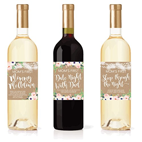 6 Mommy's First Milestone Stickers or Wine Labels, Great Baby Shower Gift Ideas For Mom To Be, Funny Mom's First Moments After Having New Baby Girl or Boy, 1st Date Night With Dad & More