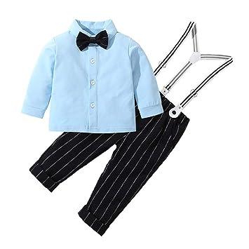 efbd2ea1eb81 2pcs Toddler Baby Kids Boys Suit Long Sleeves Gentleman Top T-Shirt +Strip  Trousers