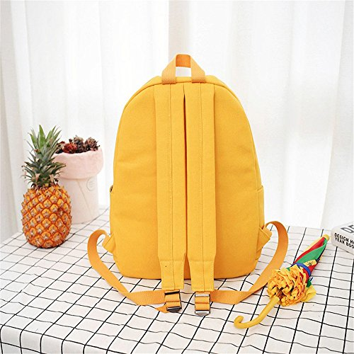 Printed Yellow Canvas Girls Laptop School Backpack Yellow PPAP Students Heart Rucksack Bag Backpack Travel Bag qZ4xvPnF6w