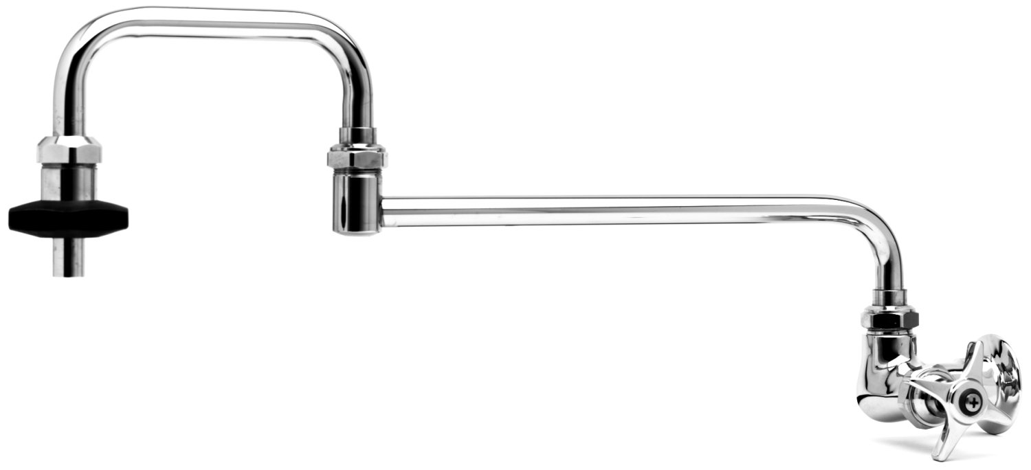 T&S Brass B-0594 Pot Filler with Wall Mount, Single Control, 24-Inch Double-Joint Nozzle and Insulated On-Off Control
