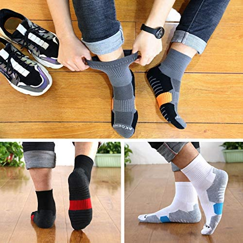 AKOENY Men's Performance Athletic Quarter Socks for Sport Walking Tennis (6 Pack)