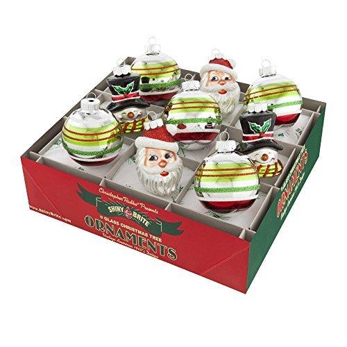 - RADKO Shiny Brite Holiday Splendor Figural & Rounds Santa Snowman Christmas Ornaments