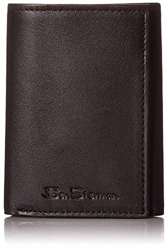 - Ben Sherman Kensington Sheepskin Leather Trifold Wallet in Black