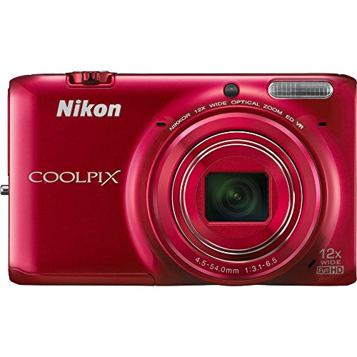 Nikon COOLPIX S6500 Wi-Fi Digital Camera with 12x Zoom – Red (Certified Refurbished)