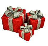 PMS SET OF 3 B/OP LIGHT UP SISAL GIFT BOXES RED W/SILVER BOW