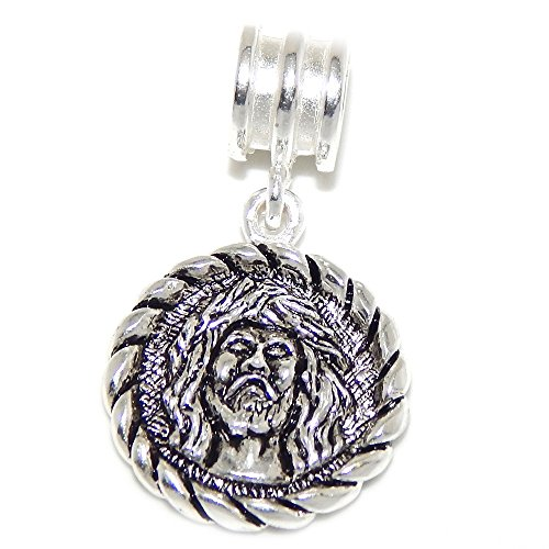 PJEWELRY 925 Solid Sterling Silver Dangling Jesus Pendant with Braided Border Charm Bead