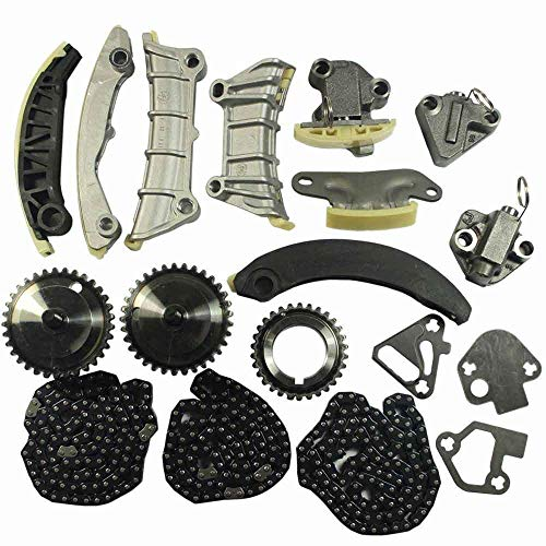 Engine Timing Chain Kit Includes Chain Guide Tensioner Sprocket For Chevy Equinox Malibu Traverse GMC Acadia Cadillac CTS SRX STS Buick Enclave LaCrosse Saab Suzuki 2.8L 3.0L 3.6L DOHC 24V