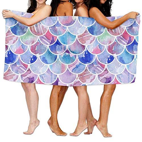 Towel Mat Ultra Mermaid Scales Women Picnic Kids Microfiber Beach Absorbent Towels For Watercolor Bath Men wH8qvR