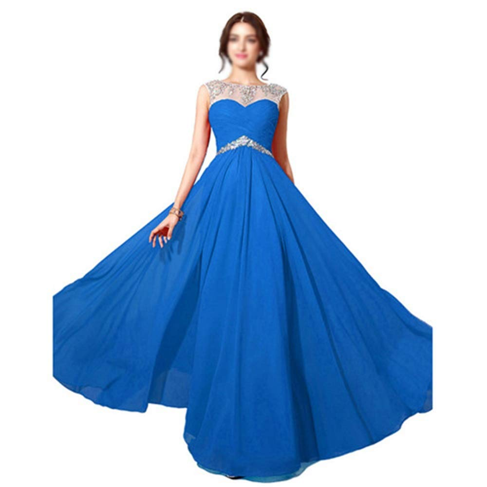 bluee CEFULTY Women's Embroidery Beads Sleeveless Sexy Long Evening Dress (color   bluee, Size   US8)