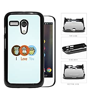 Three Cute Owls in Brown/Orange/Blue Circle I Love You Sign with Light Blue Background Motorola (Moto G) Hard Snap on Plastic Cell Phone Case Cover