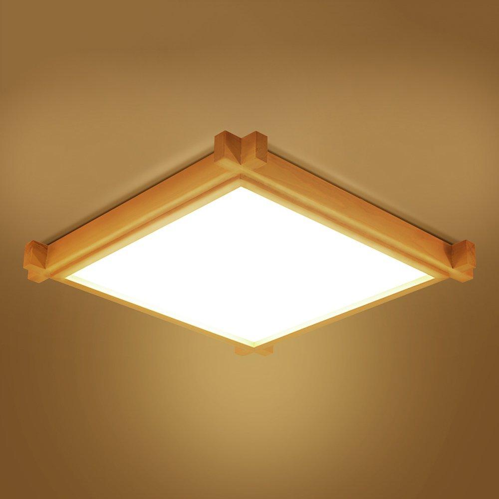 Yaomeimei Led 18ワット天井ランプ寝室ランプシンプル暖かい純木スクエアスタディランプ通路ライトノルディックランプ和風 (Color : Warm Light, サイズ : A) A Warm Light B07SWTYR19