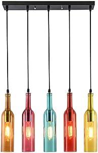 Glass Pendant Lights, 5 Lights Modern Wine Bottle Ceiling Light Nordic Retro Chandelier for Hairdressing Clothing Shop Party Decor, Φ 54CM