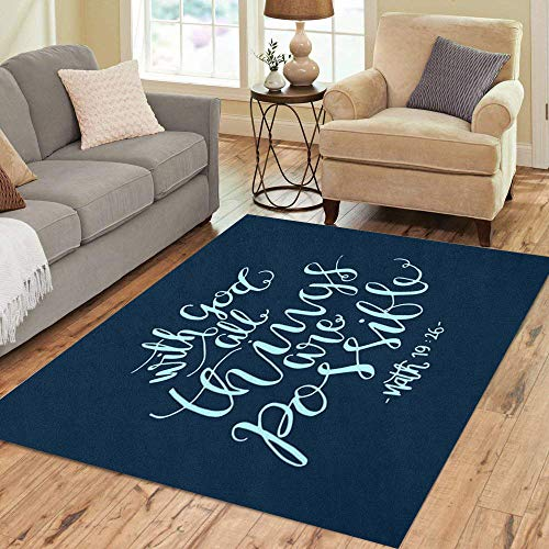 Pinbeam Area Rug Verse All Things are Possible Modern Bible Home Decor Floor Rug 5' x 7' Carpet