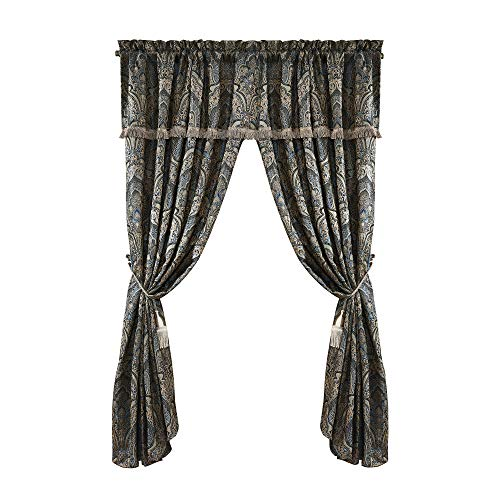 Chezmoi Collection Seville 4-Piece Jacquard Blue Gold Medallion Paisley Window Curtain/Drape Set Sheer Backing,Tassels, Valance