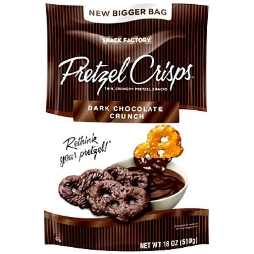 Snack Factory Pretzel Crisps Dark Chocolate Crunch 18 oz (Pack of 2)