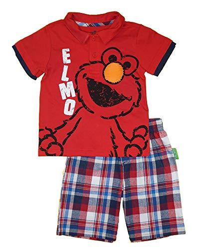 Sesame Street Boys' Infant Elmo Two-Piece Plaid Short Set, Red, 24M