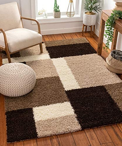 Well Woven Madison Shag Cubes Beige / Brown Modern Area Rug 6'7'' X 9'10''
