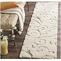 1 Piece Off White Cream Beige Shag Scrollwork Runner Rug, Pretty Floral Long Carpet, Motif Scrolling Vine Accents Pattern Entraceway Hallway Flooring, Polypropylene, Stain Resistant 23 Ft X 8 Ft
