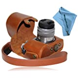 """MegaGear """"Ever Ready"""" Protective Light Brown Leather Camera Case , Bag for Panasonic LUMIX GX7 with 14-42mm and 20mm Lens (Light Brown)"""