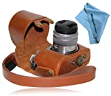 MegaGear 'Ever Ready' Protective Light Brown Leather Camera Case , Bag for Panasonic LUMIX GX7 with 14-42mm and 20mm Lens (Light Brown)