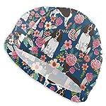 yinchuyindianzi Swim Cap English Springer Spaniel Floral Swim Cap for Adults, Older Kids 3