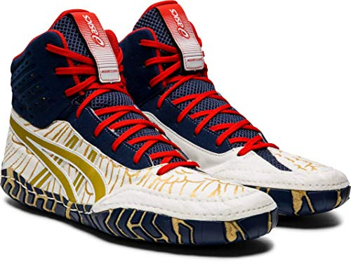 ASICS Aggressor 4 Men's Wrestling Shoes, White/Rich Gold, 11 M US