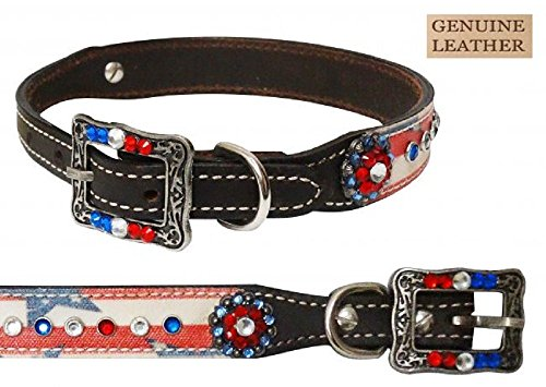 Showman Couture TM Genuine leather dog collar with american stars and stripes print with rhinestones and conchos -