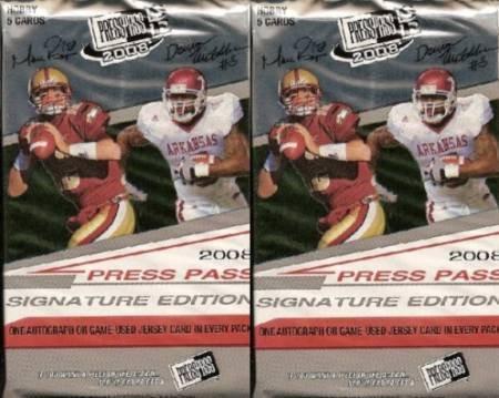 2 (Two) Packs - 2008 Press Pass Signature Edition (SE) Football Hobby Packs (5 Cards per Pack) - Possible Matt Ryan, Matt Forte, Chris Johnson, Joe Flacco, DeSean Jackson, Darren McFadden, and/or Felix Jones Rookie Cards!!!!