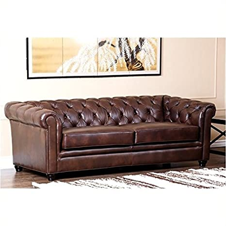 Peachy Amazon Com Bowery Hill Leather Sofa In Brown Kitchen Dining Pdpeps Interior Chair Design Pdpepsorg