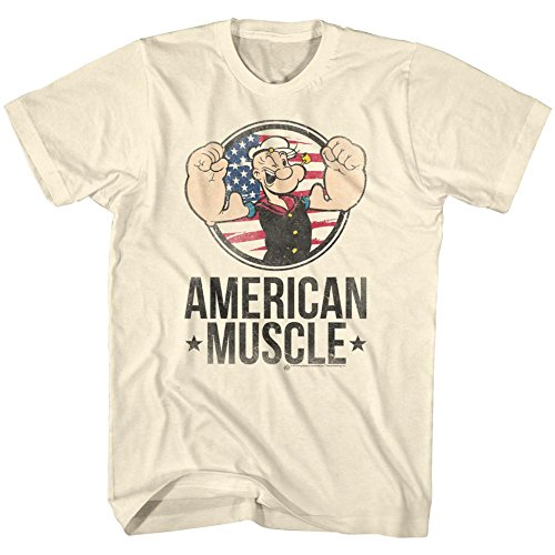 Popeye The Sailor Man 1960's Cartoon Vintage Style American Muscle Adult Tee 4X White