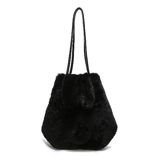 YSMYWM Women Winter Cute Faux Fur Handbag Tote Bag Shoulder Bag Crossbody  Bag Messenger Bag Plush c47cd5ae281cf