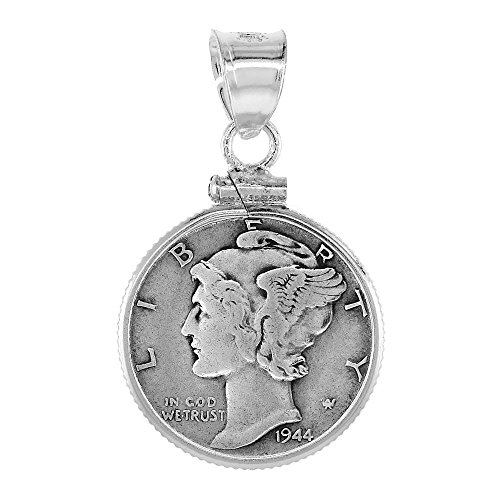 Dime Pendant (Sterling Silver Dime Bezel 18 mm Screw Top Coin Edge 10 Cent)