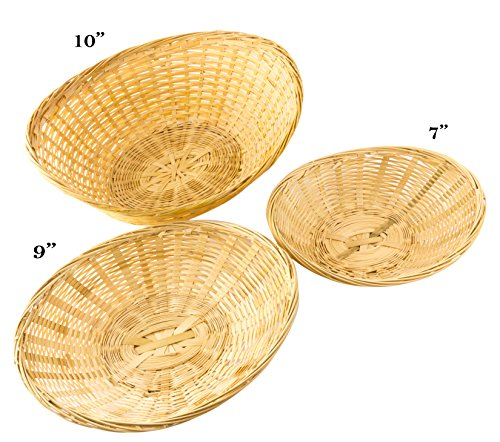 Red Co. Bamboo Bread Stackable Basket, Set of 3-10, 9 and 7 Inch