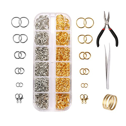 10mm/8mm/6mm/5mm/4mm Open Jump Rings and Lobster Clasps Jewelry Findings Kit, Amariver 1200 pcs DIY Locating Beads Opening Ring Lobster Clasps with Pliers Box Accessories for Jewelry Making (Silver (Ring 5mm Open)