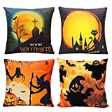 CREATIVE DESIGN Halloween Pillow Cover, 4 Pack Happy Halloween Pillow Case Bat Pumpkin Ghost Cushion Cover for Sofa Home Decor 18 X 18 inch