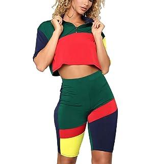 0bb363d69f6 Women's Sexy 2 Piece Block Outfits Long Sleeve Zip up Crop Top & Short  Pants Set