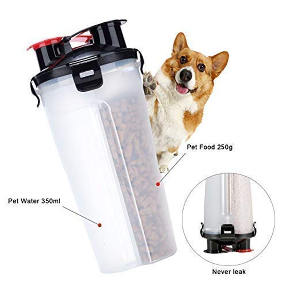 3 in 1 Equipamiento para Mascota Botella de Agua para Perros Un Conjunto de 2 Plegable Tazones para Perros Gatos Mascotas Adecuado para al Aire Libre