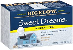Bigelow Sweet Dreams Herbal Tea, Relaxing Blend of Chamomile & Mint, Caffeine Free, 20-Count Boxes (Pack of 6)
