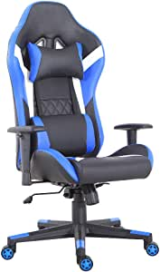 LCH Gaming Office Chair Ergonomic High-Back Desk Chairs Racing Style with Lumbar Support, Height Adjustable Seat, Headrest, Soft Foam Seat, Blue