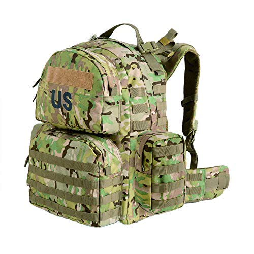 Military US Multicam Molle II Medium Rucksack with 2X Sustainment Pouches,Bug Out Bag for Camping Hunting Hiking (Ocp Medium Rucksack)