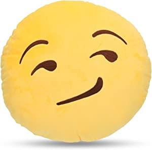 LynnWang Design Emoji Round Cushion Pillow for Home Decor Kids Room, Decorative Plush Pillow for Car Sofa Pets Cushions