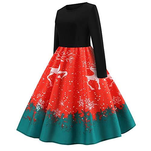 Vintage Vestito Da Red Natale Manica Deelin Party Semplice Stampa Lunga O Collo Serale Nobile Generoso Donna dCtshQrxB