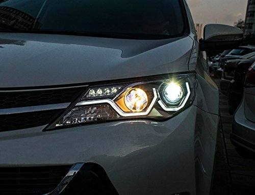 GOWE Car Styling for Toyota RAV4 Headlights 2014-2015 COB Design LED Headlight DRL Bi Xenon Lens High Low Beam Parking Fog Lamp Color Temperature:8000k;Wattage:35w 1