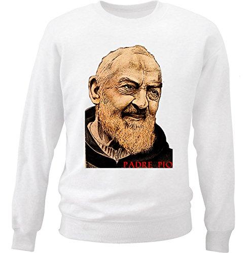 Teesquare1st Men's PADRE PIO2 White Sweatshirt Size XLarge