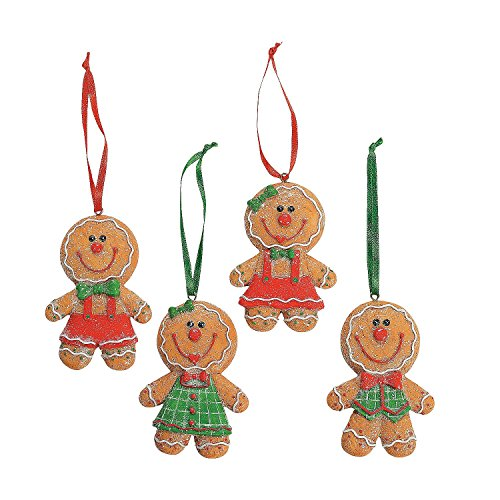 Fun Express Dozen (12) Adorable Big Head Gingerbread Man/Boy/Girl Cookie Christmas Tree Ornaments/Glittery Resin 3.5