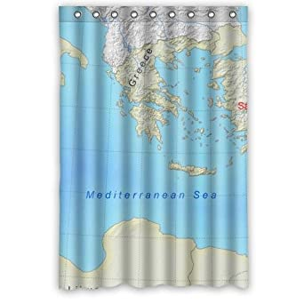 Popular 48quot X 72quot Inches Mediterranean Map Shower Curtain Modern Waterproof Bathroom Polyester Fabric